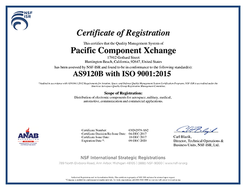 Pacific Component Xchange AS 9120 Certificate